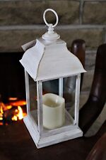Large White Shabby Chic French Vintage Washed Metal Lantern + LED Candle 30.5cm