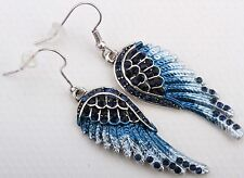 Angel Wing Dangle Earrings Crystal Rhinestone Fashion Jewelry Royal Blue ED01