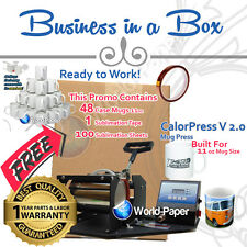 Cup Mug Press Printer Digital Combo With 48 Case 11 oz Mugs, Tape, Paper :)