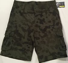 NWT youth BOYS' YSM small UNDER ARMOUR athletic shorts GOLF cargo loose CAMO
