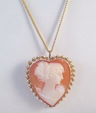 Vtg SEMCO 10K YELLOW GOLD HEART SHAPED CARVED SHELL CAMEO PENDANT & PIN w/CHAIN