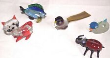 Lot 5 Miniature glass animals figurine vtg Cat Fish Duck Bird Beetle art blown