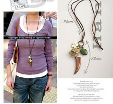 Charm Vintage Butterfly Flower Shape Tooth Pendants Long Leather Chain Necklace