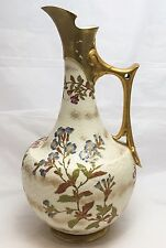 ANTIQUE 1880's GILDED HAND PAINTED ROYAL WORCESTER PITCHER VASE EWER 12 1/2 ""