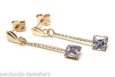 9ct Gold Lilac CZ Long Drop Earrings Gift Boxed Made in UK