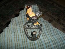 Vintage CAST IRON ROOSTER COAT HAT KEY HOOK Country Decor Collector !
