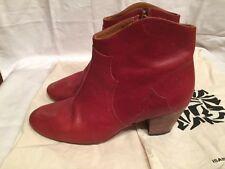 Isabel Marant SZ 38/US 8 Brick Red Leather Dicker Ankle Boots Booties
