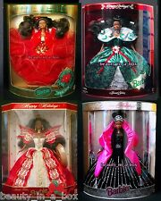 1993 1995 1997 1998 Holiday Barbie Doll African American AA Happy Lot 4 DB