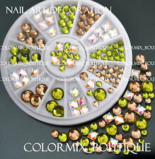 #R46 Nail Art Decoration Green Champagne Square Round Glass Rhinestone+Wheel