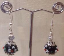 HAND CRAFTED BEAUTIFUL MURANO GLASS BEADED EARRINGS WITH CRYSTAL BEAD EARRINGS