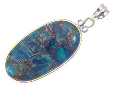 BUTW Sterling Silver Blue Apatite with Bronze Matrix pendant with SP Chain 2493P