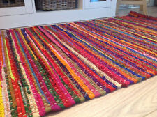 Loomed Chindi Rag Rugs Striped Woven Recycled Cotton Mat Fair Trade 70 x 140 cm
