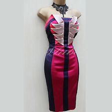 Karen Millen Purple Colour Block Origami Twisted Cocktail Races Pencil Dress 14