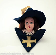 Antica e Rara Testa di Bambola d'Epoca con Croce Dorata Vintage Ancient Old Doll