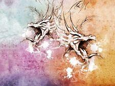 Impresión arte cartel Pintura Dibujo Tatuaje Sketch Cabeza De Dragón Colores lfmp0675