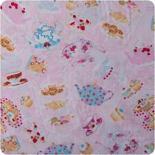 24 INCHES Timeless Treasures OOP Teapot Muffin Cupcake PINK #SWEET-C 7902 Fabric