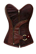 NEW Brown Faux Leather Pirate Wench Lace Up corset Medieval Steampunk Costume 2X