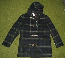 $395. (L) Men's RALPH LAUREN Tartan Plaid Hooded Wool Toggle Coat (polo)