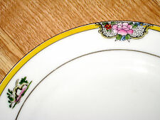 FLORAL ROSE porcelain YELLOW BAND bread PLATE hand painted NORITAKE JAPAN