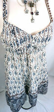 AMERICAN EAGLE AEO Boho Navy Blue Floral Halter WOMENS Dress Size 2 Small S