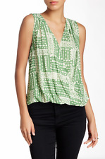 VELVET By Graham & Spencer Zita Sleeveless VNeck Printed Challis Top Green S $99