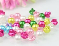 100Pcs Round Mixed Color Faux Pearl Sewing Buttons Backhole Scrapbooking