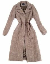 ISABEL MARANT BEIGE WOOL BLEND COAT ALPACA MOHAIR LEATHER BELT CELINE / SIZE 2