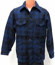 vtg Pendleton BLUE BLACK PLAID Wool Jacket M MED 70s hunting work snap pockets
