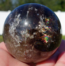 Super SCRYING SPHERE Black Morion Smoky Quartz Crystal BALL Smokey Rainbows