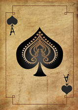 A5 Print – Vintage Playing Card Ace of Spades (Picture Poster Texas Poker Art)