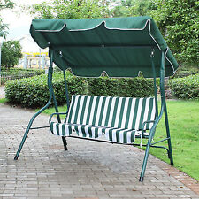 Green White Stripe 2-Person Canopy Patio Swing Outdoor Home Porch Furniture Deck