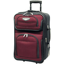 """Travel Select Red Amsterdam Carry-on 21"""" Expandable Rolling Luggage Suitcase Bag"""