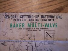Baker Multi Valve booklet set up instructions and parts list reprint John Deere