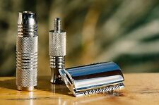 Pearl Double Edge Safety Razor Travel Kit, with Blades, Case, and Scissors