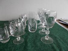 15x Glas Gläser Weinglas  Kristall Jagdmotiv Hirsch Fasan Wildschwein Jäger