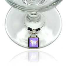 Unicorn Wine Glass Drink Marker Charm Ring