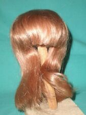 "doll wig/ human hair 10.5 to 11"" strawberry blond / chin length/hand knitted"