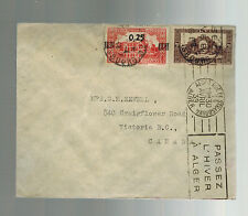 1939 Algeria Cover to Canada from CAnadian pacific Railway