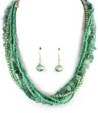 Multi Strand Multi Green Glass Seed Bead Glass Bead Stone Necklace Earring