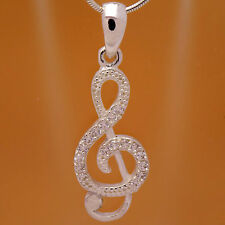 Cute 925 Sterling Silver Musical Treble Clef White CZ Pendant &Gift Velour Strap