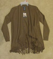 NWT Womens CHELSEA & THEODORE Brown Fringe Cardigan Long Sweater S Small
