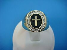 """14K YELLOW GOLD MEN'S CROSS RING WITH """"HALO"""" DIAMONDS,SOLID BACK,9.2 GR,SIZE 11"""