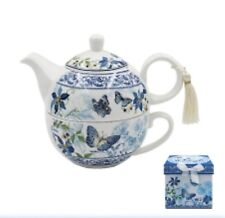 SHABBY CHIC VINTAGE DESIGN TEAPOT TEA FOR ONE TEA CUP GIFT SET BUTTERFLY GARDEN