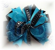 LOT ( 1 ) 5 TO 5 1/2 INCH TURQUOISE & BLACK GLITTER HAIR BOW