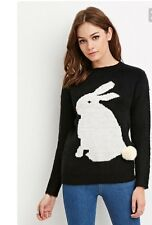 New Forever 21 Black & White Bunny Rabbit Animal Pullover Crewneck Sweater Sz S