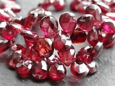 "HAND FACETED GARNET DROPS, approx 5x7mm, 9"" strand, 84 beads"