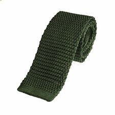 Men's Plain Olive Green Narrow Slim Skinny Silk Knitted Tie (N004)