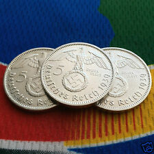 1939 A 5 Mark German Silver Coin (1) WW2 Third Reich Swastika Reichsmark