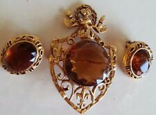 VINTAGE UNSIGNED FLORENZA EARRINGS BROOCH PIN ESTATE FAUX GOLD AMBER CREST SET