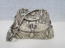 GUCCI BAMBOO PYTHON LEATHER LARGE AUTHENTIC GG LINED HANDBAG EXCELLENT CONDITION